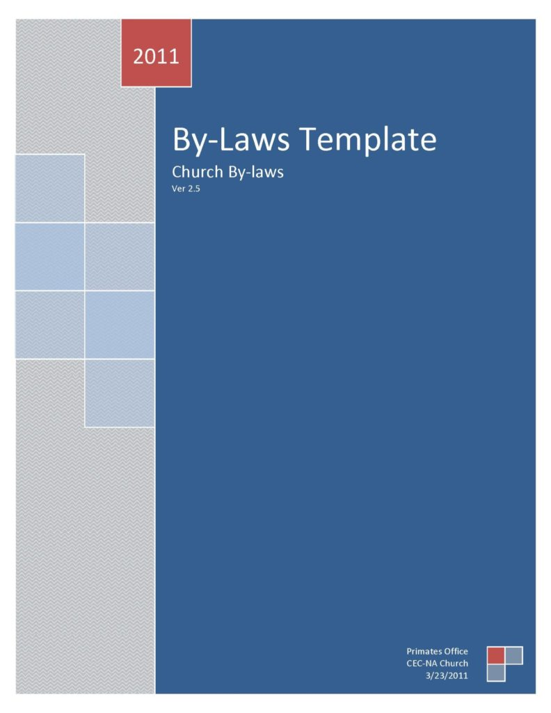 Church Bylaws 2.6 Cover 2  Church Bylaws Template